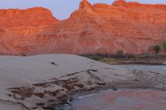 Big burly beach in Cataract Canyon, at sunset.