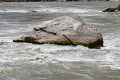 Low water on the big rock in Big Drop 2.