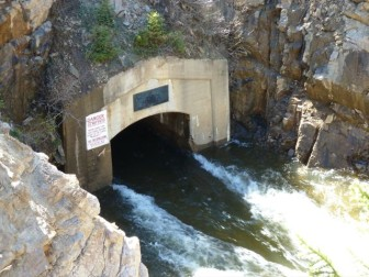 The eastern end of the tunnel that begins in Grizzly Reservoir.