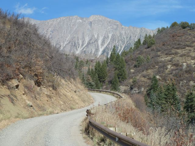 This is a section of County Road 2 that winds up from the east side of Paonia Reservoir. Near the end of the road there are two picnic shelters and the start of the road that runs across the strip of BLM land.