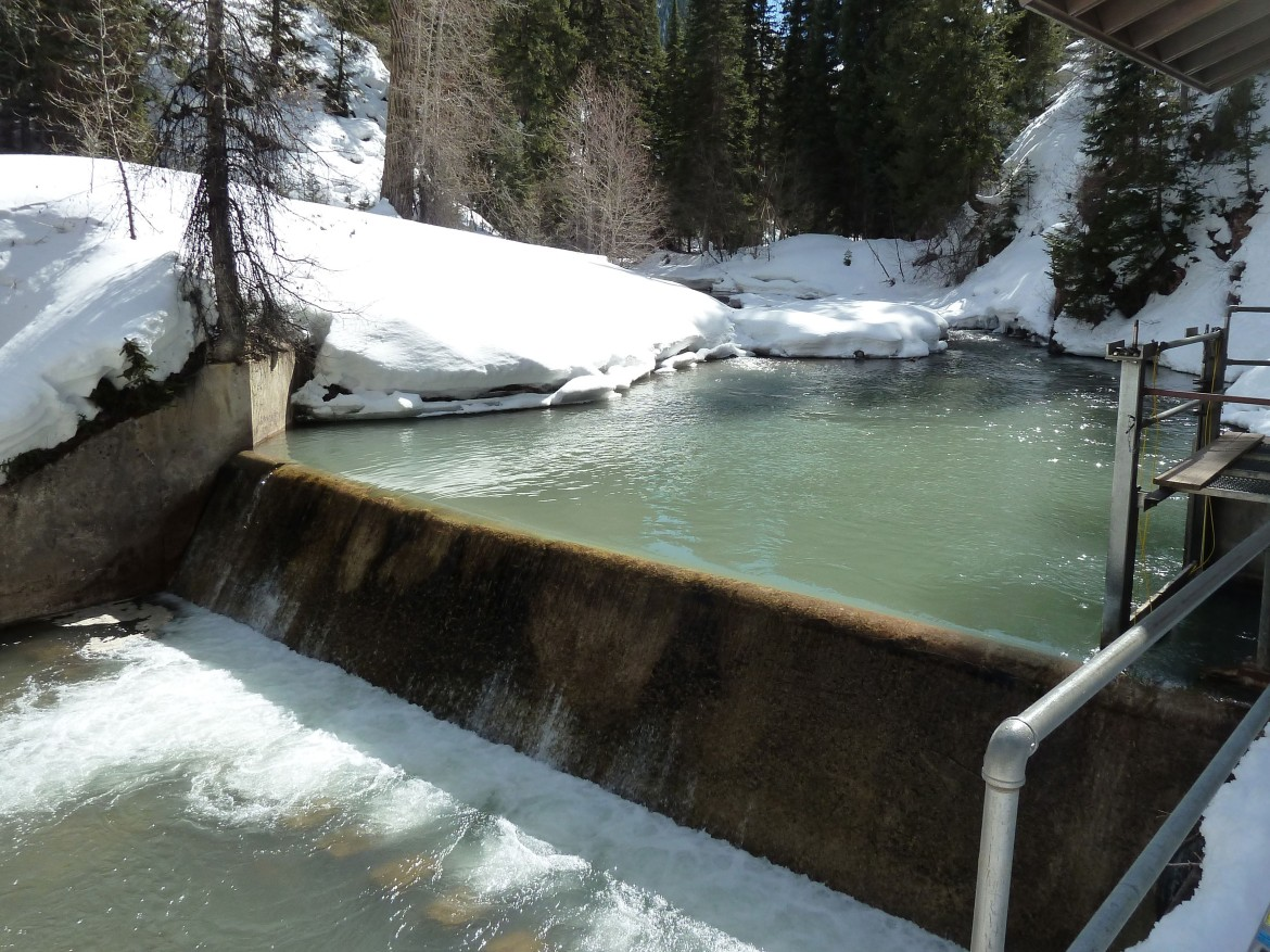 The city's diversion dam on Castle Creek, which is about 2.5 miles above the proposed hydro power plant.