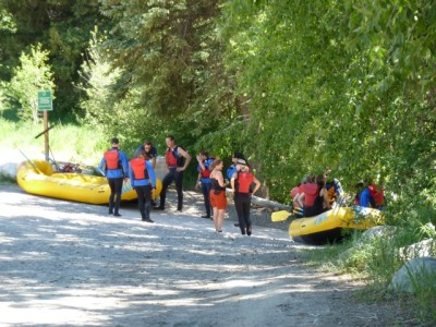 A group of rafters preparing to launch from Wink Jaffee Park in Woody Creek last summer.