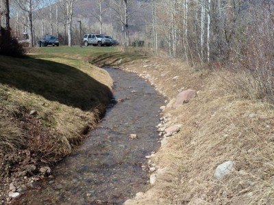 One of the city's irrigation ditches that carries water from Castle Creek toward the city's golf course.