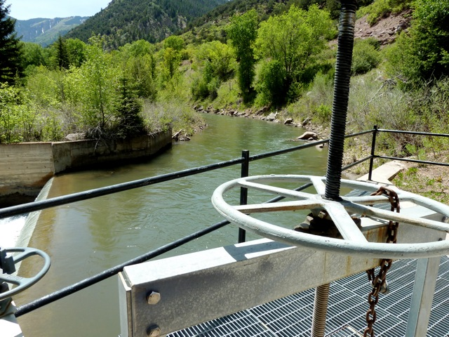 The large diversion structure on the Crystal River between Redstone and Carbondale that takes water from the river and delivers it to the Crystal River Ranch.
