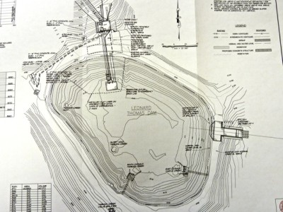 This is a 2010 or 2011 document prepared by McLaughlin Water Engineers for the city of Aspen as required by the Colorado Division of Water Resources and on file in Glenwood Springs. It shows the new outtake structure for the pipeline on the north side of the reservoir, the new spillway on the east side of the reservoir, and the two intake structures for pipelines from Castle and Maroon creeks. This document was produced well after Aspen City Council voted to install the pipeline.