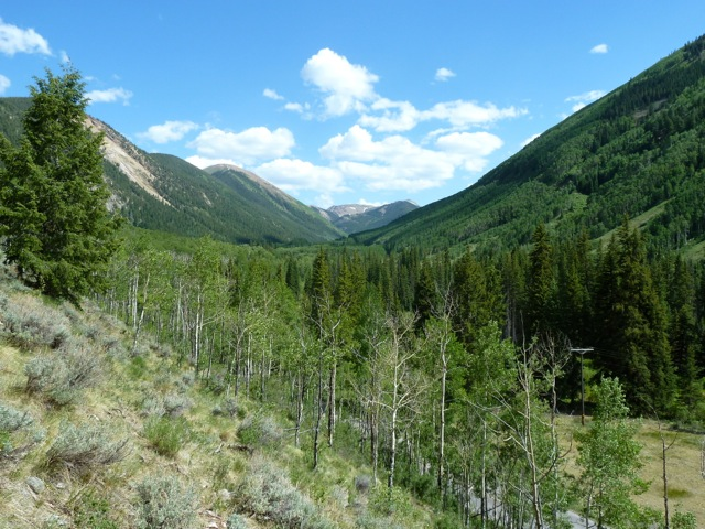 Looking upvalley in the vicinity of the Castle Creek Reservoir site. The river and the wetland on the valley floor between Fall Creek and Sandy Creek, two miles below Ashcroft, would be flooded behind a 170-foot dam if the city exercised its current conditional water rights. Much of the land that would be flooded is privately owned.