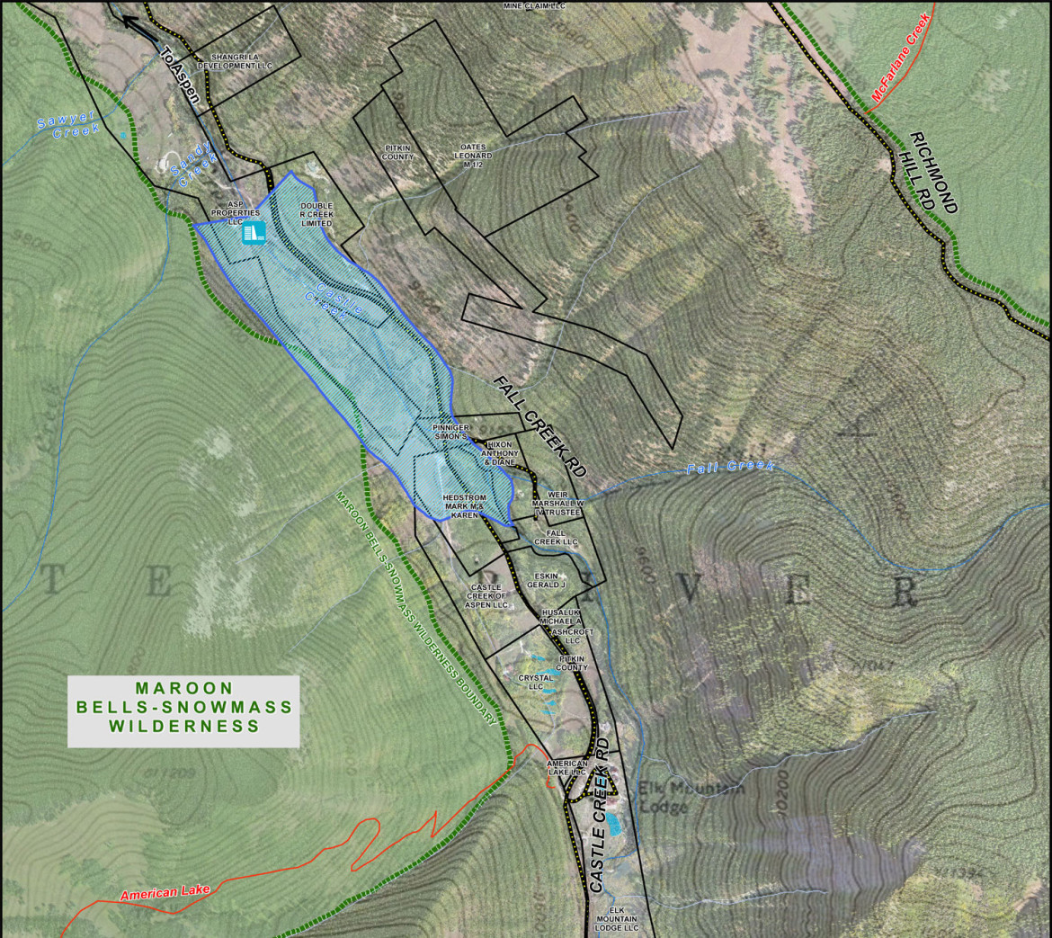 A map showing the location of the potential Castle Creek Reservoir. The extend of the reservoir has been slightly modified to flood a smaller portion of private property owned by adjacent neighbors.