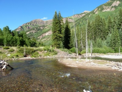 A view looking downstream at the approximate location of the dam for the Maroon Creek Reservoir.