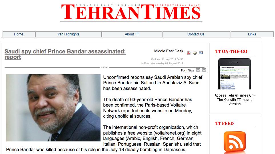 Prince Bandar still alive, insiders say | Aspen Journalism
