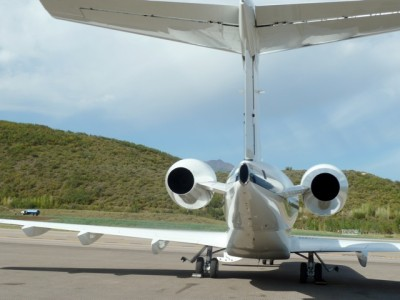 Jet tail in Aspen, facing the west side of the runway.