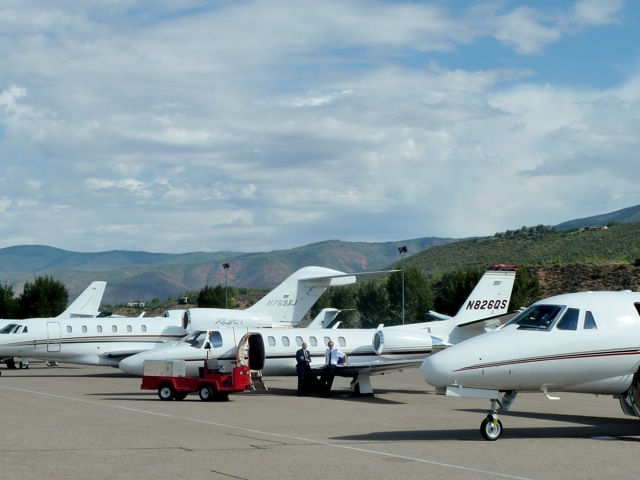 Part of the regular line-up of private jets at the Aspen/Pitkin County Airport.