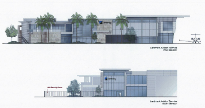 A rendering of what the new Landmark Aviation FBO will look like at San Diego International Airport.