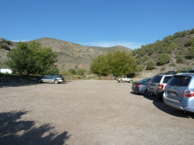The parking lot on the Windstar property has room today for 46 cars. The trail to the conservation property starts at the parking lot. In this view looking toward Snowmass Creek, it is to the right.