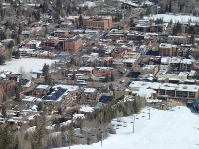 Downtown Aspen from Aspen Mountain during the 2011-12 ski season.