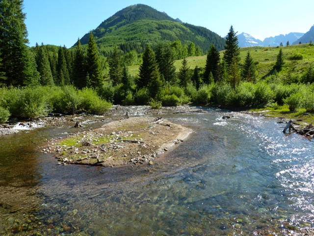 The stretch of Maroon Creek, just below the confluence of East and West Maroon creeks, where city of Aspen plans show a large dam. City officials say climate change may someday make either the Maroon or Castle creek dams a good option.