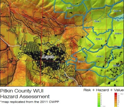 "This is an image taken from the Hunter-Smuggler plan that shows the wildfire danger in the ""wildland urban interface"" around Aspen. It gives new meaning to the term ""red mountain,"" as the orange and red colors on the map indicates high hazard areas."