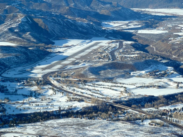 A view of the Aspen airport runway and the Hwy 82 corridor to the west of Maroon Creek.