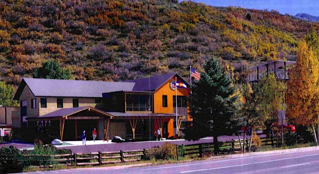 A rendering prepared by Mountain Rescue Aspen that shows its proposed building and training tower after proposed landscaping has grown out.