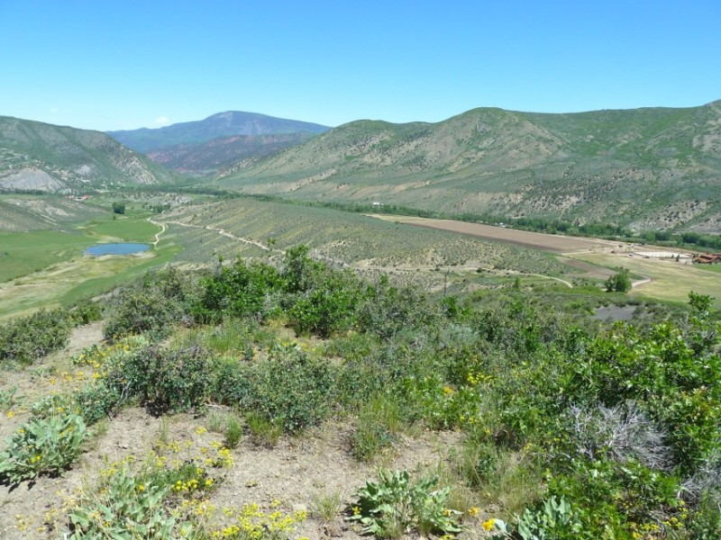 A view in June 2013 of the Jeff Hildebrand's High Mesa Ranch on the right - with its recently leveled pasture suitable for polo - and the Windstar property on the left with the pond.