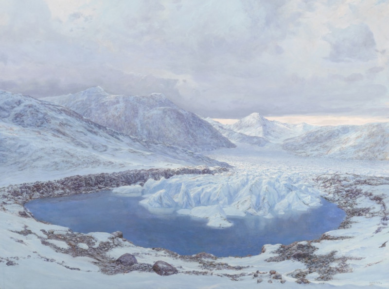 Acrylic painting of Ziegler Reservoir landscape by Jan Vriesen, depicts about 130,000 years ago, after the formation of the lake basin by a glacier that spilled out of Snowmass Creek Valley.