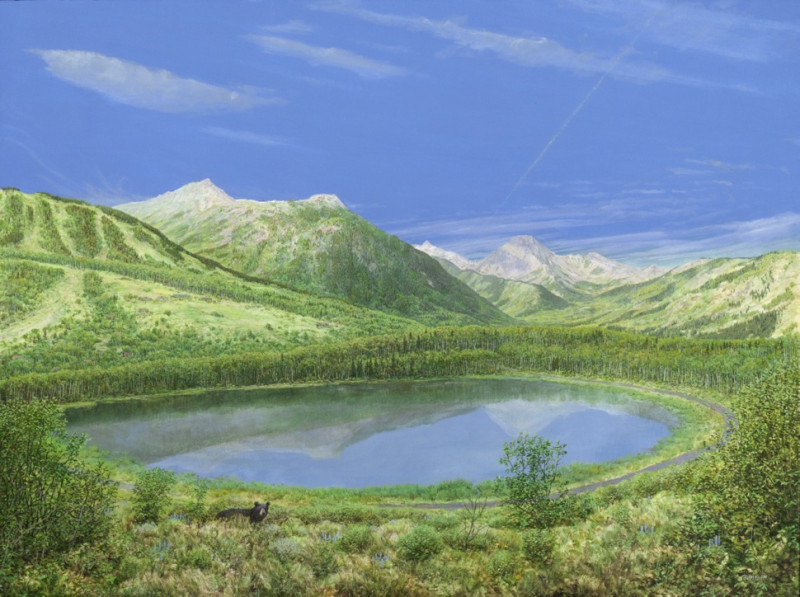 Acrylic painting of Ziegler Reservoir landscape by Jan Vriesen, depicts Summer 2012 after the dam was completed and the reservoir was filled.