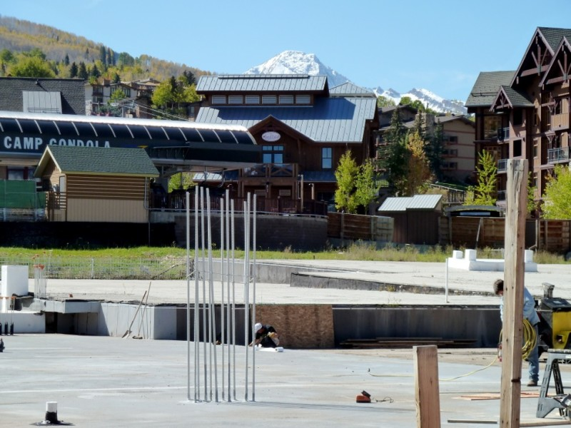 A view of the location in Base Village where Aspen Skiing Co. has proposed building a second Limelight hotel.