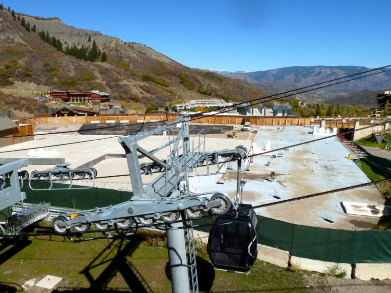 A view of the finished slab on which Building 5 in Base Village was planned to be built. It is located just behind the Elk Camp gondola at the Snowmass Ski Area.