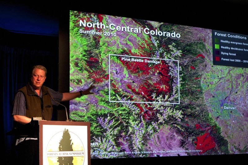 Former vice president Al Gore speaks at a forest health conference in 2011 at The Doerr-Hosier building in Aspen.