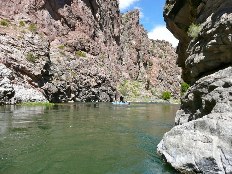 The Gunny Gorge on the Gunnison River below Blue Mesa Reservoir. If more water is taken out of the reservoir, how much less water will flow through this canyon?