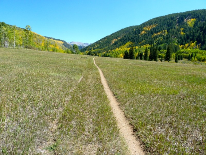 The popular hiking trail on the floor of the Hunter Creek valley above Aspen.