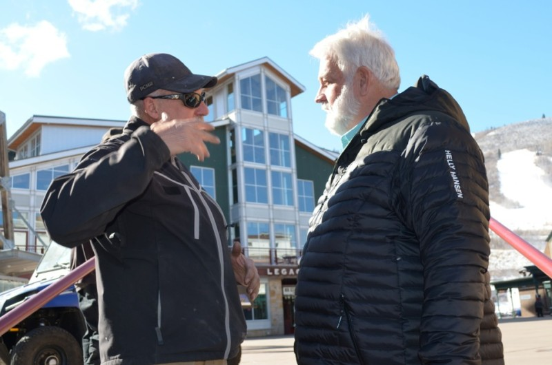 Mike Testa, left, a building maintenance worker, alerts Park City Mountain Resort Chief Sustainability Officer Brent Giles to an unnecessary waste of power at the resort's Legacy Lodge.