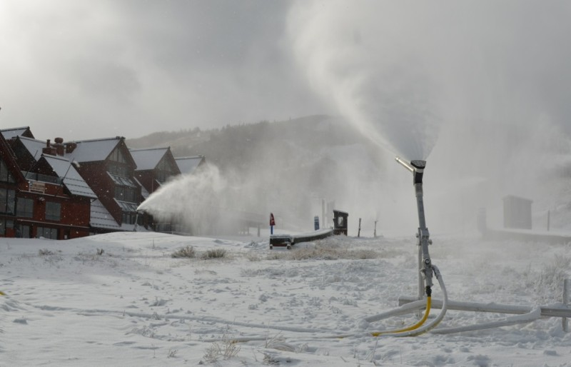 The snowguns blasting at the base of Park City Mountain Resort are a mix of new, efficient guns and older ones. The resort recently replaced 67 guns as part of a gradual effort to upgrade all of its snowmaking equipment.