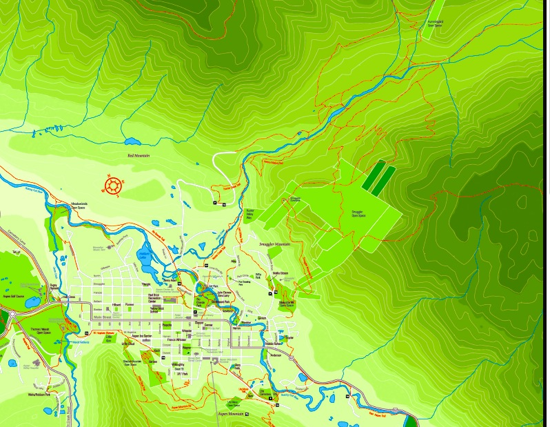 This map shows the relationship between downtown Aspen and the Hunter Creek and Smuggler Mountain areas. Hunter Creek itself is shown flowing from the right-hand corner of the map. The light green squares are local public open space on Smuggler Mountain.