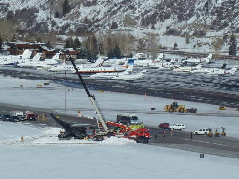 The scene on the Aspen airport runway on Monday, Jan. 6 at about 2:45 p.m.