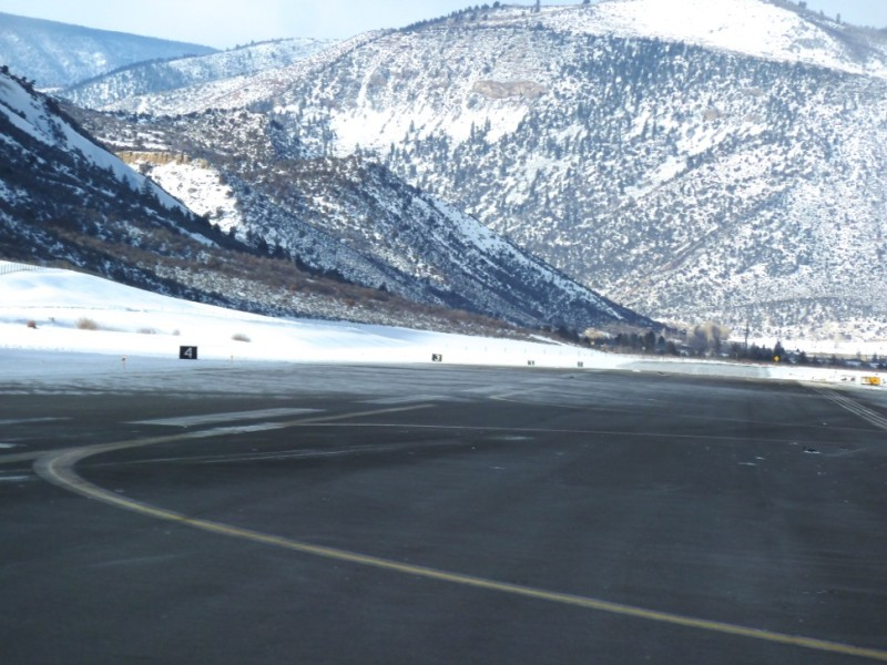 Looking down the Aspen runway, toward the end of the runway where planes typically approach. There were pieces of the jet scattered along portions of the runway this afternoon.