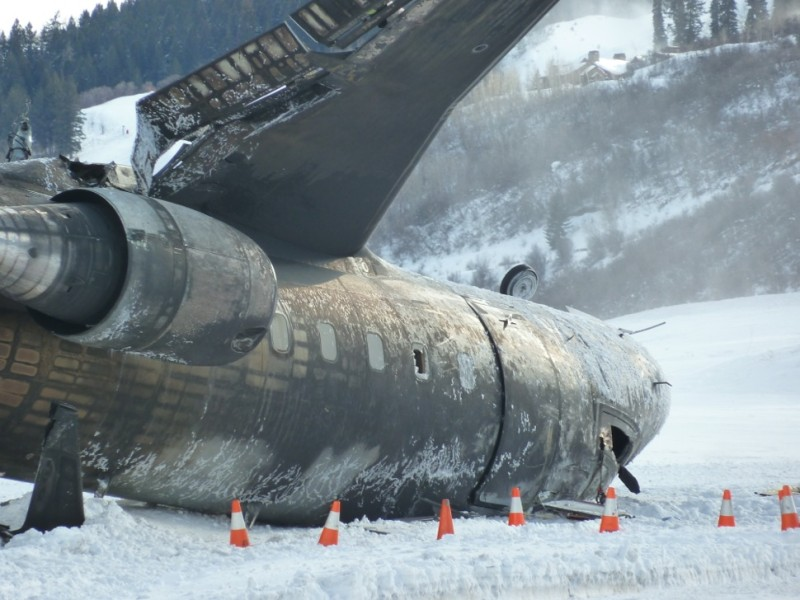 Another view of the burned fuselage of the private jet that crashed in Aspen on Sunday, Jan. 5, 2014.