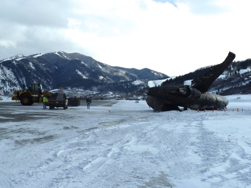 The wreckage of a private jet on the runway in Aspen, Colorado on Sunday, Jan. 5.