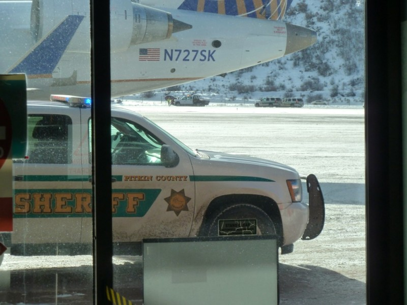 The view from the Aspen airport terminal on Sunday, Jan. 5, 2014.