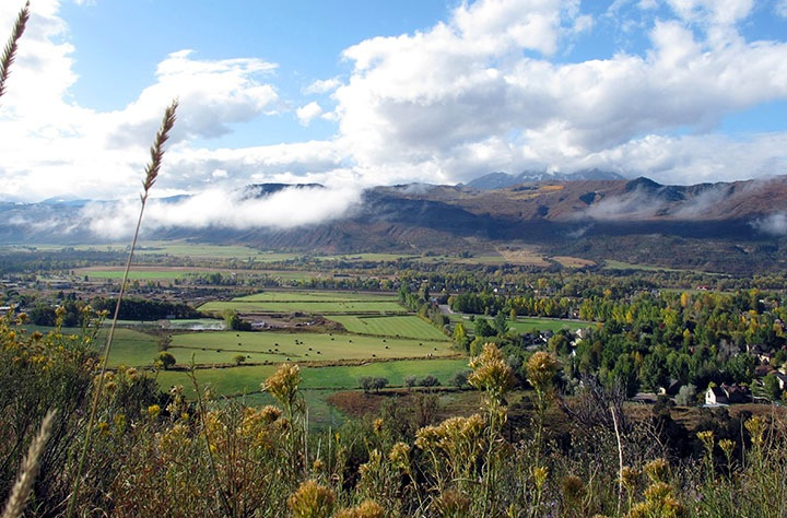 This land in the middle section of the Roaring Fork River valley may see local farmers growing food on public open space. Photo courtesy of Pitkin County Open Space and Trails.