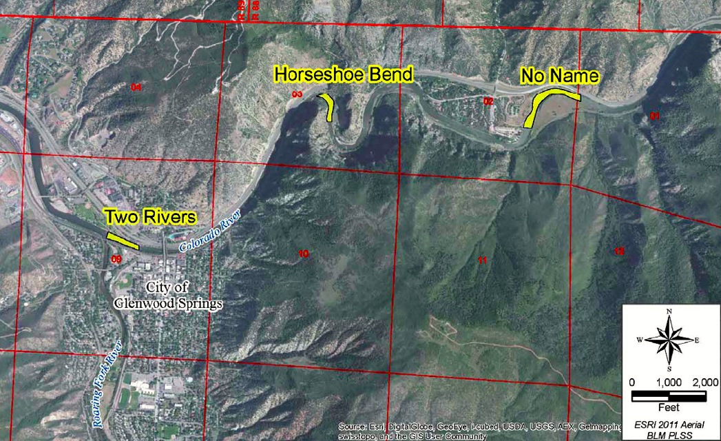A map filed by the city of Glenwood Springs showing the locations of three proposed whitewater parks. The city is seeking non-consumptive recreational in-channel diversion (RICD) rights tied to six rock structures built in the river, two in each of the three parks.