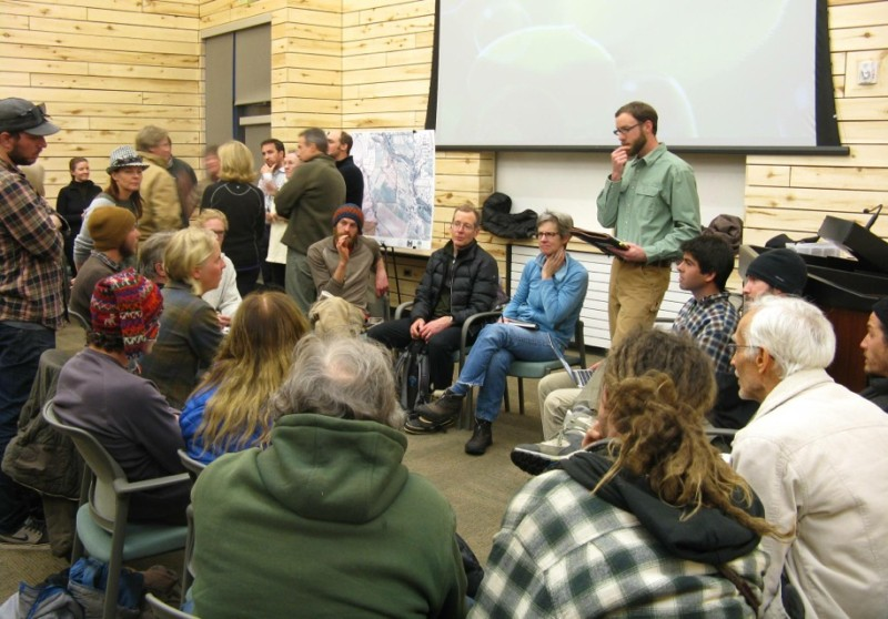 Future farmers gather in a breakout group with Paul Holsinger, Land Officer with Pitkin County Open Space and Trails, to discuss management options for two open space ranches. Photo by Paul Andersen