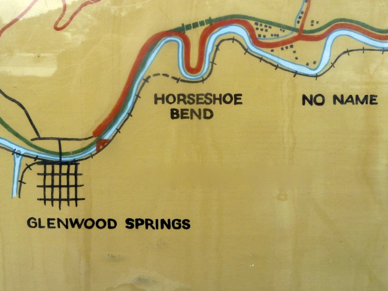 A photo illustration showing the stretch of the Colorado River where the city of Glenwood Springs has applied for RICD water rights. Tthe Roaring Fork River, far left, comes into the Colorado just downstream of downtown Glenwood Springs. Horseshoe Bend is about a mile above town, while No Name is two miles up.