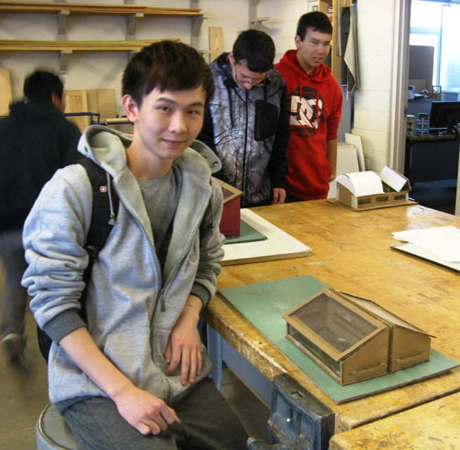 Scale models fabricated from technical drawings challenged Basalt students like Ming-Xiong Li.