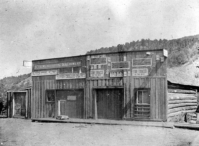 This original log store building predated the brick buildings constructed at Emma in the early 1890s. This was how the property looked when it was acquired by Charles H. Mather in 1888.