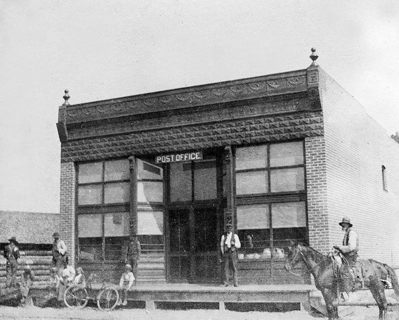 The first of two side-by-side brick buildings constructed in Emma housed a store and post office. At the time of construction, the Denver & Rio Grande Western Railroad ran directly behind the buildings.