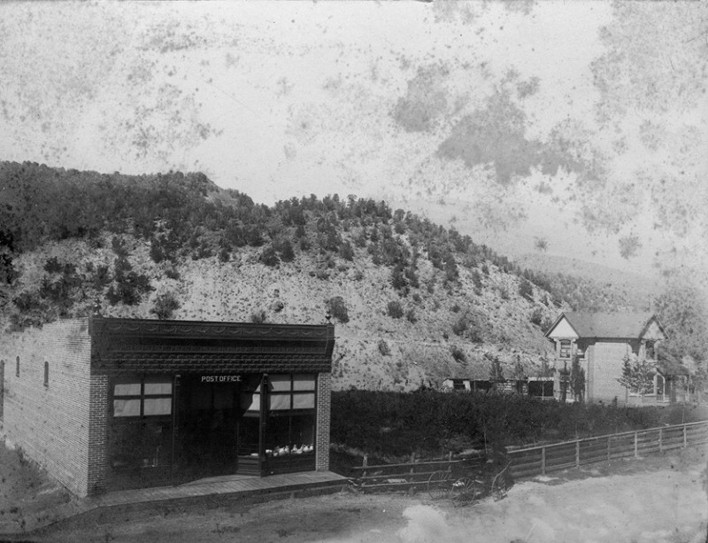 A view of the Mather store, post office and home before a warehouse was added onto the store. The Silver Crash of 1893 eventually drove Mather to sell his properties and return to the East, from where he came.