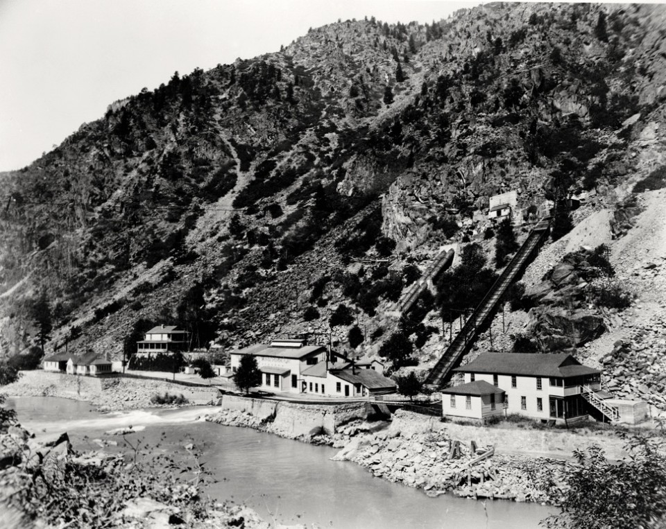 A view, circa 1935, of the Shoshone hydro plant on the Colorado River east of Glenwood Springs. The plant went into operation in 1909.