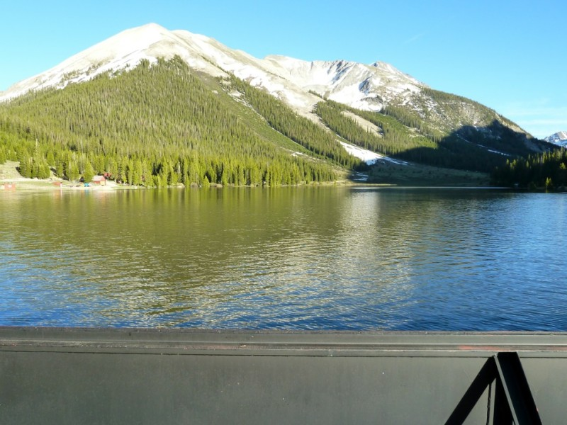 Grizzly Reservoir on Lincoln Creek, well above its confluence with the Roaring Fork River. The reservoir briefly stores water before it is diverted under the Continental Divide.