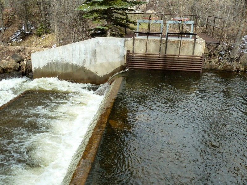 A view of the Salvation Ditch diversion dam and head gate, just of off Stillwater Drive, east of Aspen.