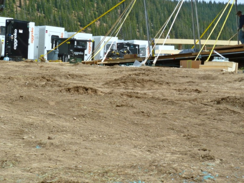 The area behind the biggest tent on the wedding site was worn down to loose dirt on Monday, June 16.